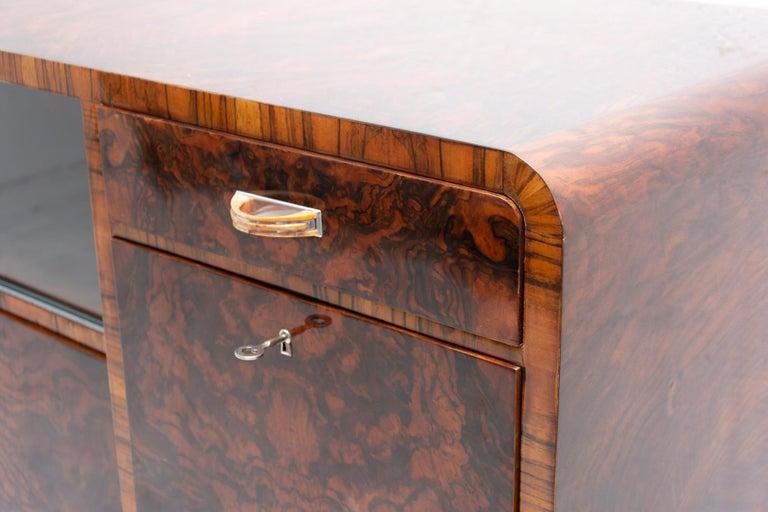 Bohemian Art Deco Walnut Veneer Sideboard or Buffet, 1930s For Sale 4