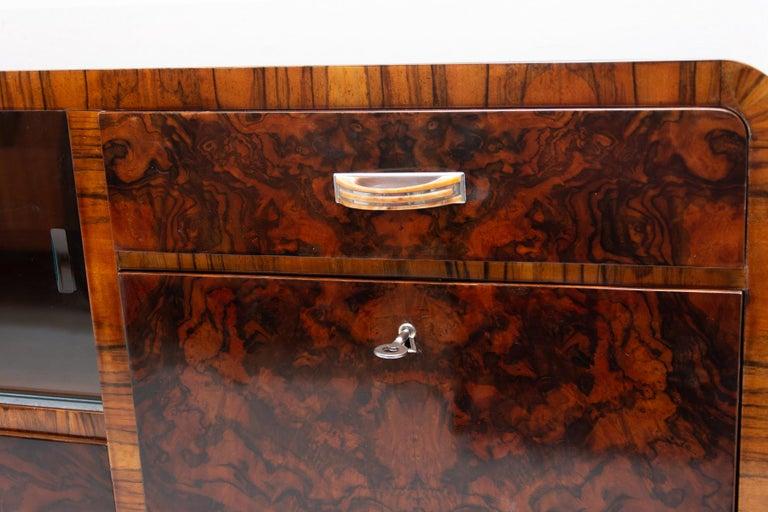 Bohemian Art Deco Walnut Veneer Sideboard or Buffet, 1930s For Sale 5
