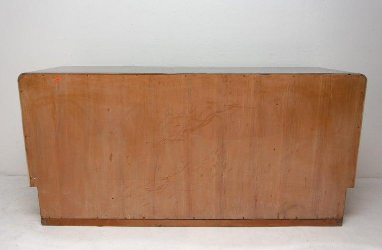 Bohemian Art Deco Walnut Veneer Sideboard or Buffet, 1930s For Sale 7