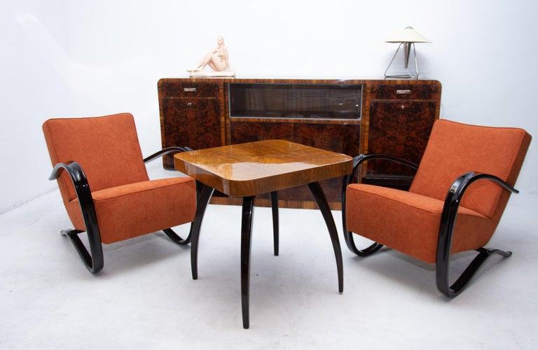 Bohemian Art Deco Walnut Veneer Sideboard or Buffet, 1930s For Sale 8