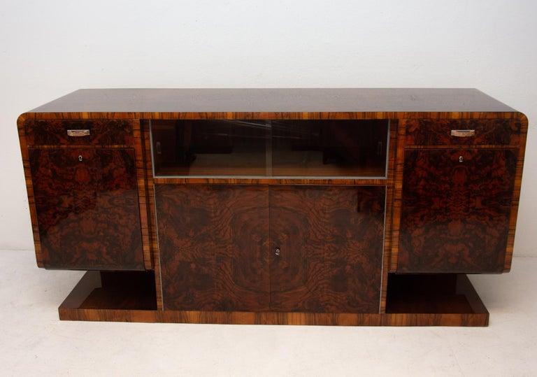 Czech Bohemian Art Deco Walnut Veneer Sideboard or Buffet, 1930s For Sale