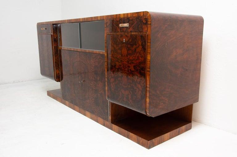Mid-20th Century Bohemian Art Deco Walnut Veneer Sideboard or Buffet, 1930s For Sale