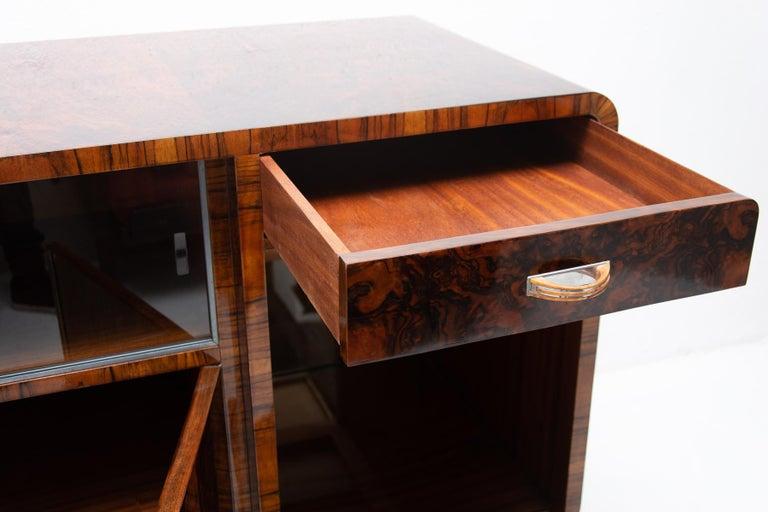 Bohemian Art Deco Walnut Veneer Sideboard or Buffet, 1930s For Sale 2