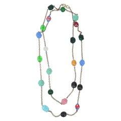 Bohemian Art Glass Opera Length Necklace