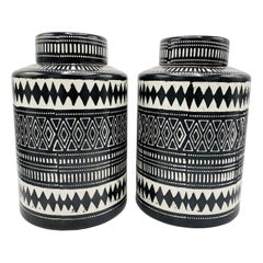 Bohemian Black and White Ceramic Ginger Jar Canisters, Pair