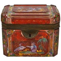 Bohemian Box and Enameled Bohemian Crystal