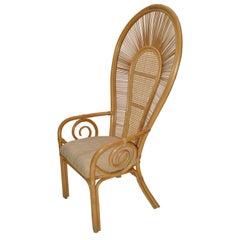Bohemian Chic Cane, Rattan, Bamboo & Fabric Seat Peacock High Back Chair 1980s