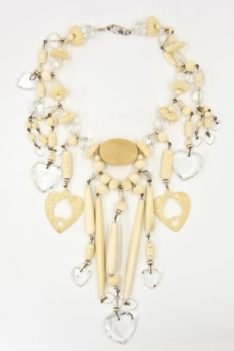 Women's Bohemian Chic Carved Bone and Lucite Hearts Bib Necklace with Dangling Earrings  For Sale