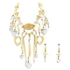 Bohemian Chic Carved Bone and Lucite Hearts Bib Necklace with Dangling Earrings