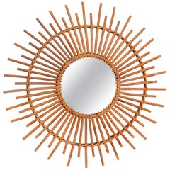 Bohemian Chic French Handcrafted Round Ficks Reed & Woven Wicker Wall Mirror