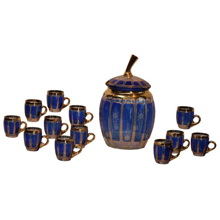Bohemian Cobalt Cut To Clear Punch Bowl Set