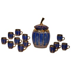 Bohemian Cobalt Cut To Clear Punch Bowl Set
