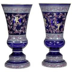 Bohemian Cobalt Vases Amor Motive 20th-21st Century