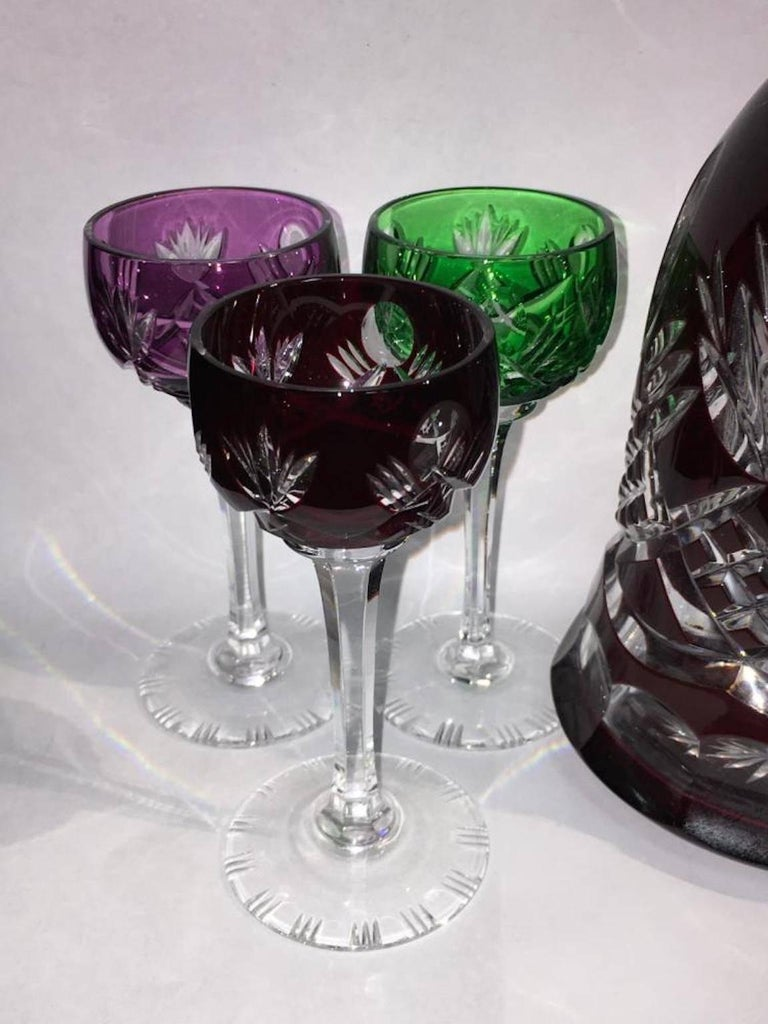 20th Century Bohemian Colored Cut to Clear Decanter Set For Sale