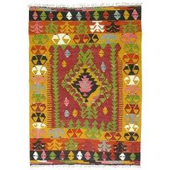 Bohemian Colorful Turkish Kilim Flat-Weave