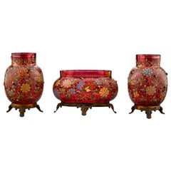 Bohemian Cranberry Glass Set by Moser