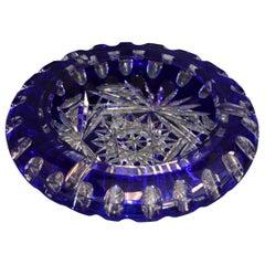 Bohemian Crystal Blue Cut to Clear Ashtray Bowl