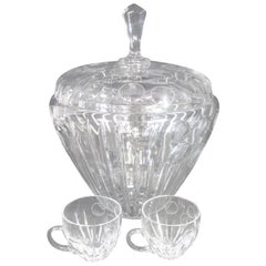 Bohemian Crystal Punch Bowl Set