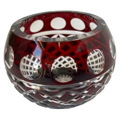 Bohemian Cut Crystal Votive Holder in Cranberry to Clear