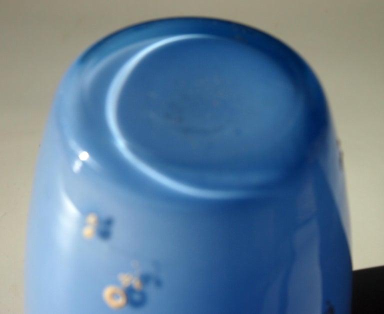Early 20th Century Bohemian Enamelled Loetz Blue Tango Glass Vase by Dagobert Peche For Sale