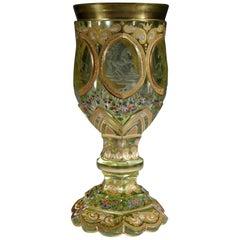 Bohemian European Antique Uranium Glass Goblet Horse Medallion Gold Paint