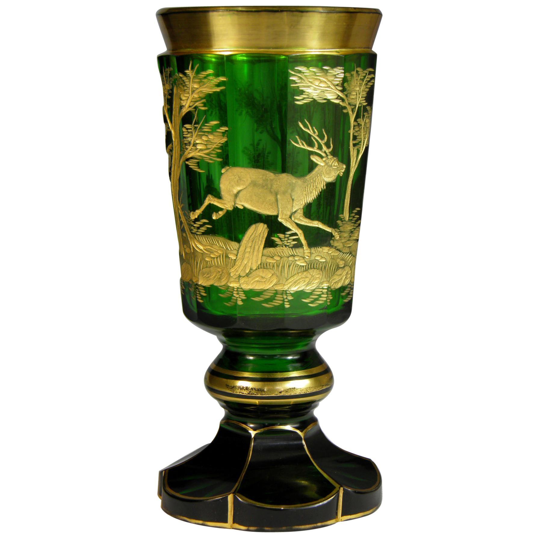 Bohemian European Glass Goblet Hunting Motive, 19th Century
