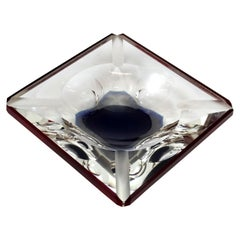 Bohemian Faceted Glass Ashtray, 1970s