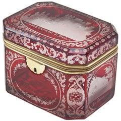 Bohemian Flash Cut Ruby Glass Souvenir Box, circa 1880