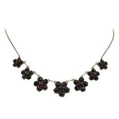 Bohemian Garnet Flower Necklace 9 Carat Gold Victorian Edwardian 9 Carat Gold