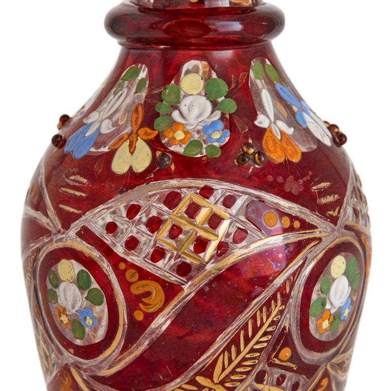 Bohemian Gilt, Enamelled and Cut Red Overlay Glass Decanter  In Good Condition For Sale In London, GB