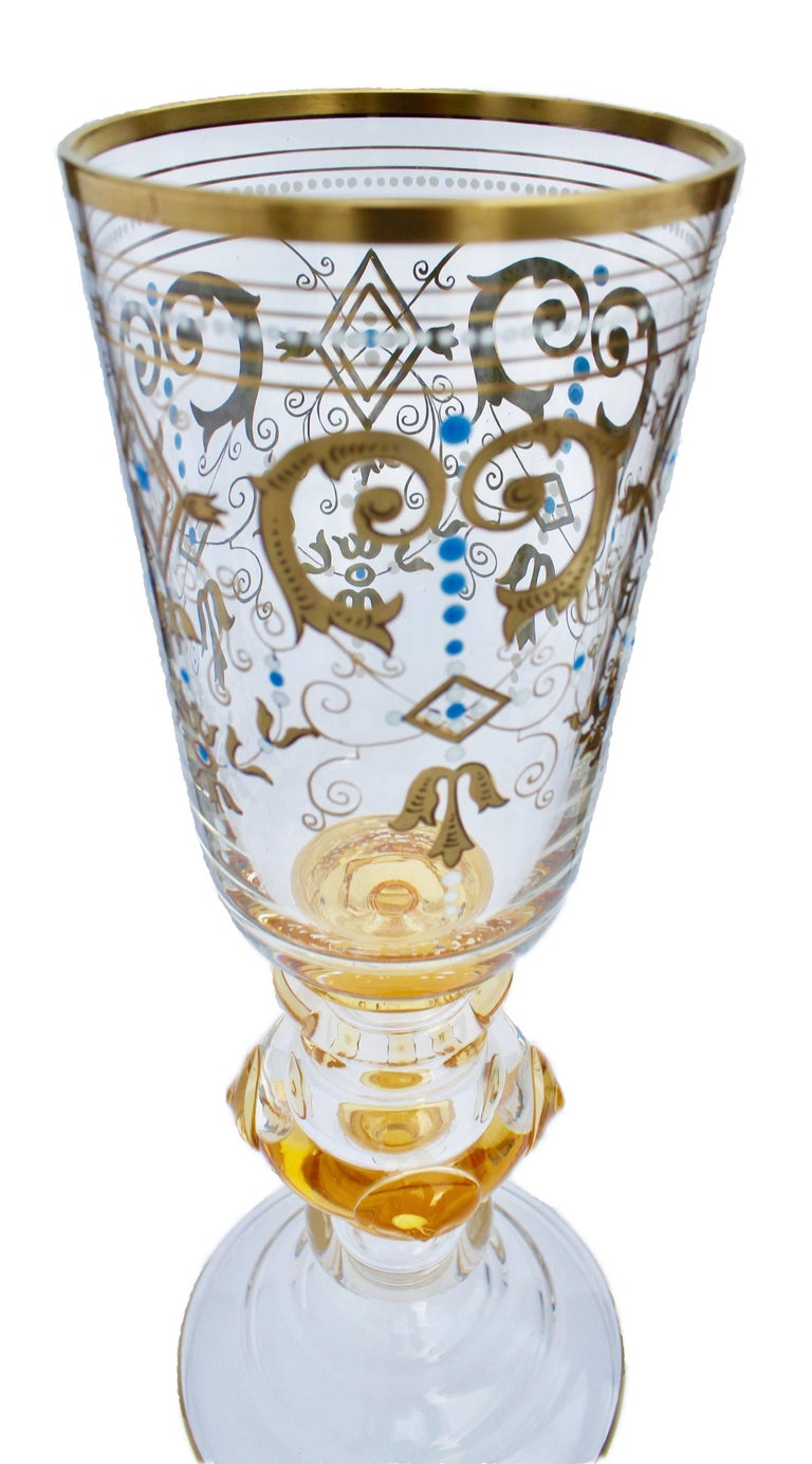 Art Nouveau Bohemian Glass Footed Jar with Gold Leaf Decoration For Sale
