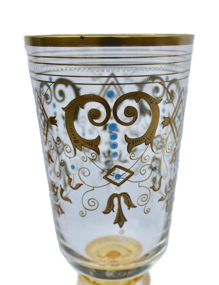 Hand-Crafted Bohemian Glass Footed Jar with Gold Leaf Decoration For Sale