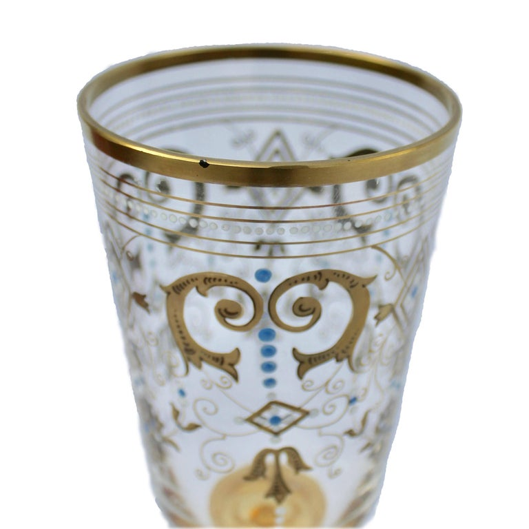 Early 20th Century Bohemian Glass Footed Jar with Gold Leaf Decoration For Sale
