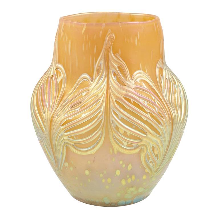 Bohemian Glassworks Johann Loetz Witwe Vase Unknown Decor circa 1900 Mouthblown For Sale
