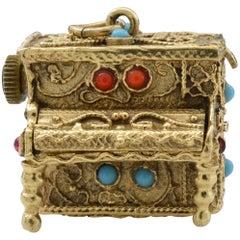 Bohemian Gold Piano Music Box Pendant