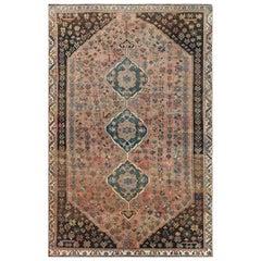 Bohemian Handmade Tan Color Persian Qashqai Old Sheared Low Wool Rug