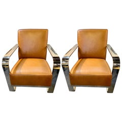 Bohemian Leather Chairs, Chrome and Leather Rockers, a Pair