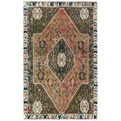 Bohemian Light Brown Wool Persian Shiraz Old Cropped Thin Handmade Rug