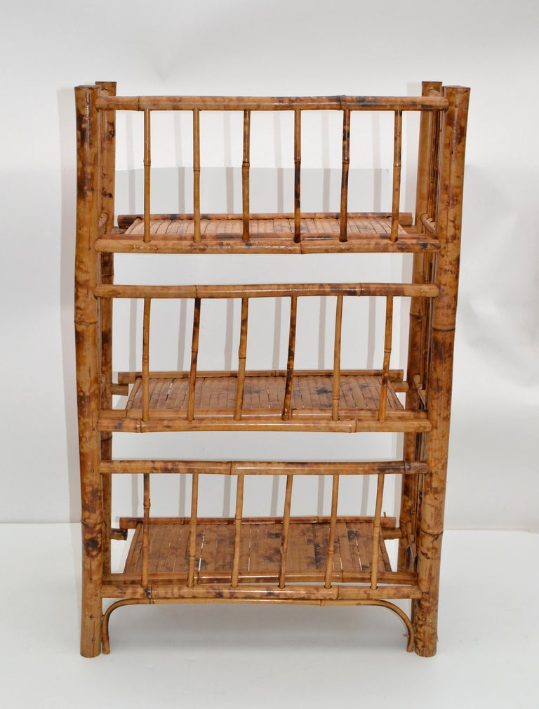 Bohemian Mid-Century Modern Handcrafted Bamboo & Cane 3-Tier Folding Shelves For Sale 5