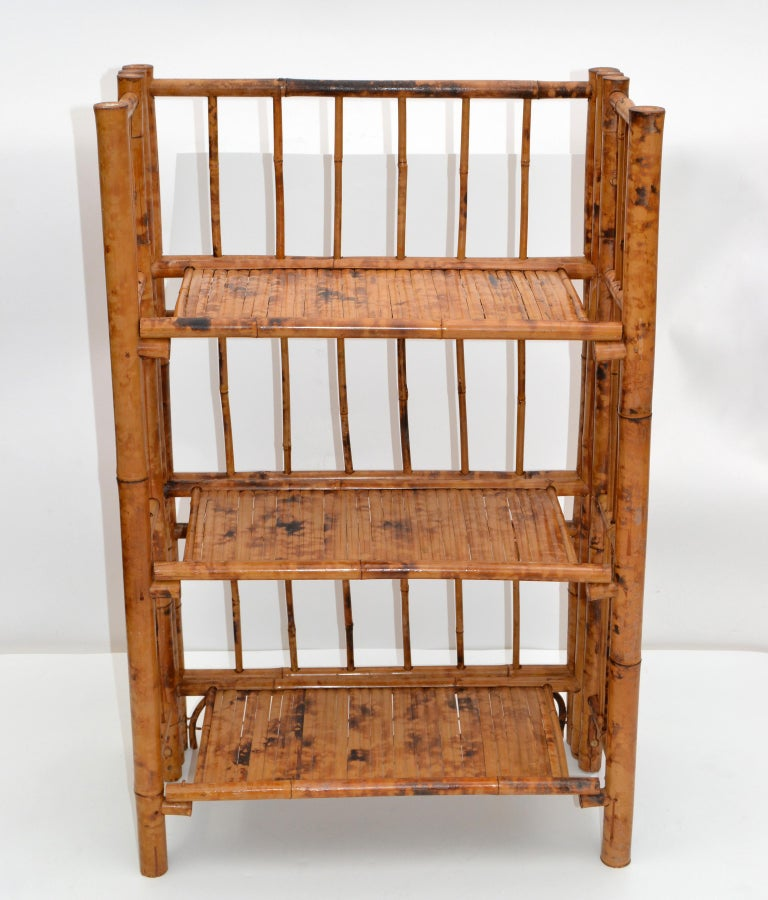 Bohemian Mid-Century Modern Handcrafted Bamboo & Cane 3-Tier Folding Shelves For Sale 6
