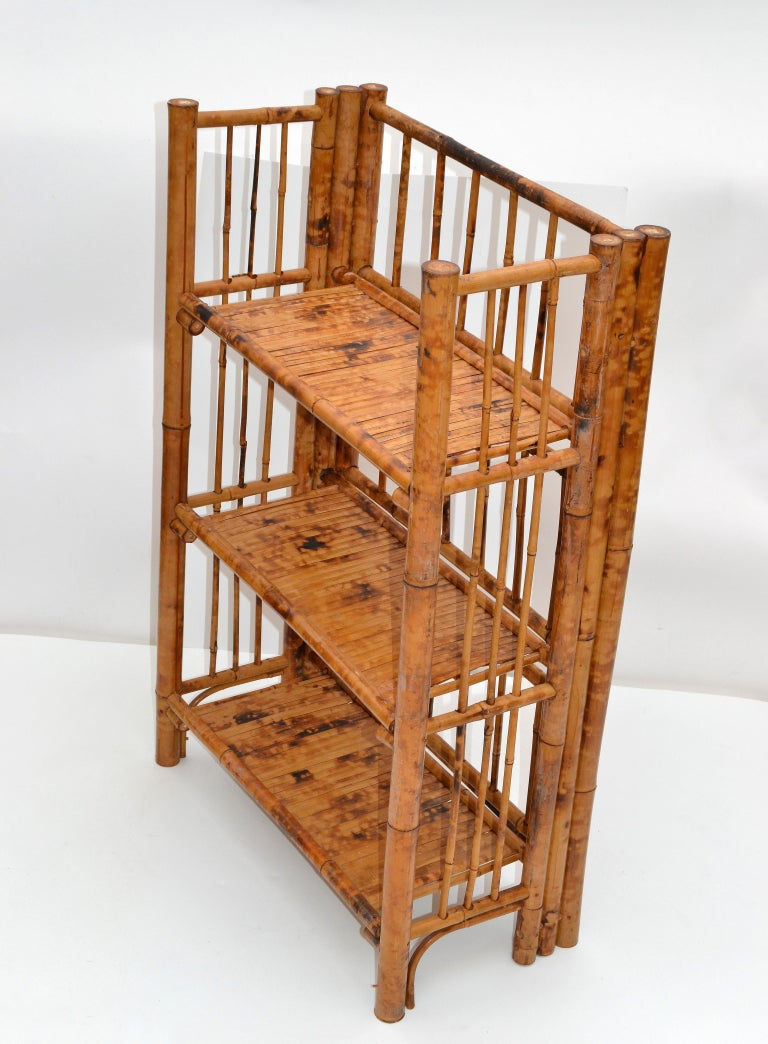Hand-Crafted Bohemian Mid-Century Modern Handcrafted Bamboo & Cane 3-Tier Folding Shelves For Sale