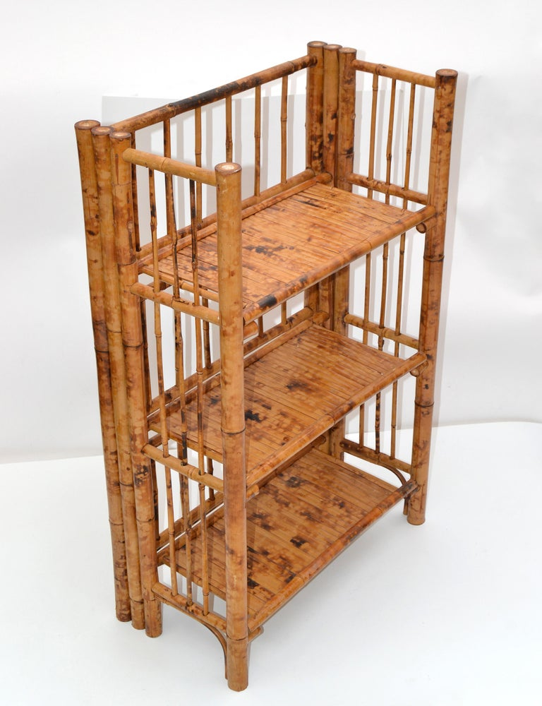 Bohemian Mid-Century Modern Handcrafted Bamboo & Cane 3-Tier Folding Shelves In Good Condition For Sale In Miami, FL