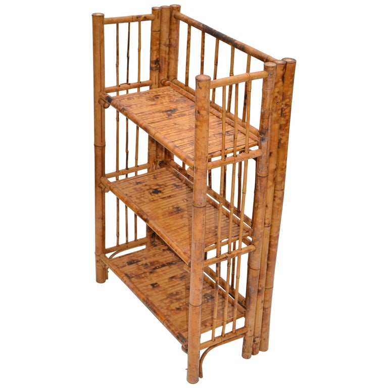 Bohemian Mid-Century Modern Handcrafted Bamboo & Cane 3-Tier Folding Shelves For Sale