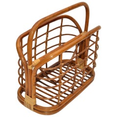 Bohemian Mid-Century Modern Handcrafted Bamboo & Cane Magazine Rack American