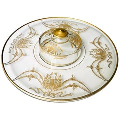 Bohemian Moser Art Glass Intaglio Cut Round Oversized Platter with Center Cover.