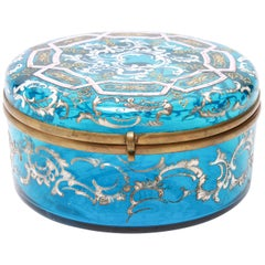 Bohemian Moser Style Enameled Glass Vanity Box
