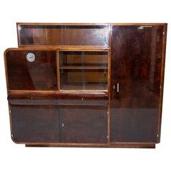 Bohemian Oak and Walnut Veneer Display Cabinet from Urban Company, 1930s