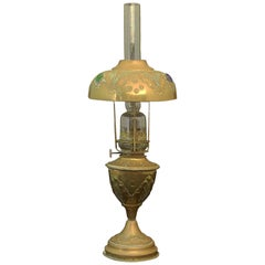 Bohemian Oil Lamp French Brass Glass Cabuchons, circa 1910