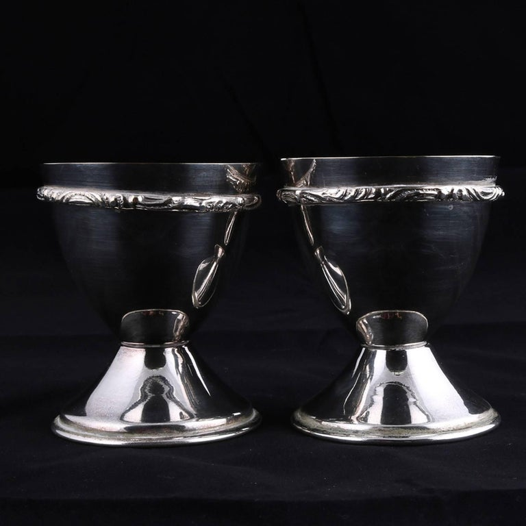 Bohemian Pair of Georg Jensen School Silver Plate Marriage Chalice Cups, P&J In Good Condition For Sale In Big Flats, NY