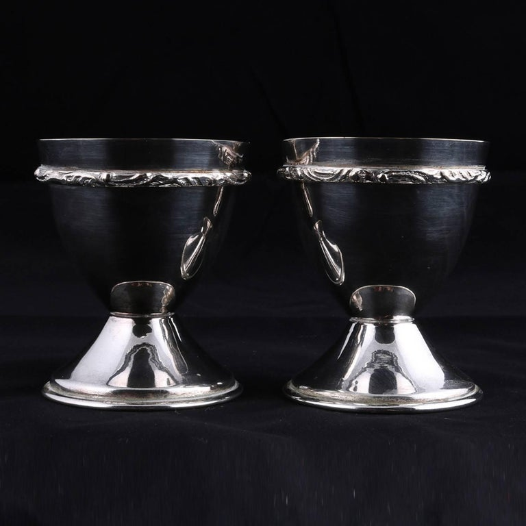20th Century Bohemian Pair of Georg Jensen School Silver Plate Marriage Chalice Cups, P&J For Sale